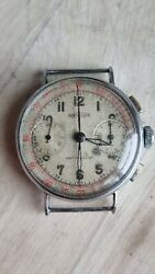 Vintage Angelus Chronograph Military Aviator Watch Caliber 215 1940and039s Servised