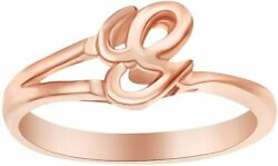 G Initial Fashion Engagement Ring In 14k Rose Gold Over Sterling Silver