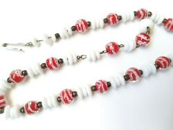 Vintage Art Glass And Milkglass Bead Choker White And Red Candy Cane Twist 12-14.5