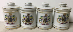 Lot Of 4 Small Antique Decorated Coat Of Arms Porcelain Apothecary Medicine Jars