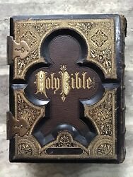 1874 Holy Bible Oldandnew Testaments Dictionary,a.j.holmanandco.12 5/8x10 1/2x4 3/4