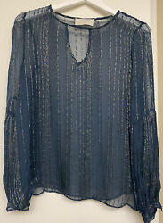Love Sam Navy And Gold Sheer Keyhole Blouse Size Small $13.20