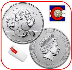 2021 Niue Disney Donald And Daisy Duck Love 1 Oz Silver Coin - 25 Coins Roll/tube