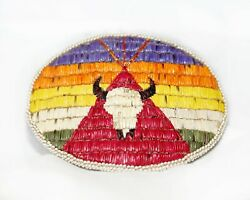 Vintage - Native American Beaded - Porcupine Quill - Belt Buckle