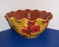 """Ambiance Fleur Rouge Nanette Vacher 10"""" Ruffled Bowl Red Florals Brown Inside"""