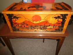 Vintage 1950's Wild West Cass Toys Wooden Painted Toy Box