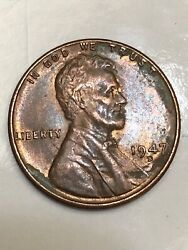 1947 D Lincoln Cent-rpm, Red/brown/black Toned, Doubled Eyelid, You Grade.
