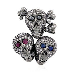 18k Gold Silver Ruby Sapphire Diamond Skull Spacer Finding Halloween Jewelry