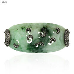 Carved Green Jade Pave Diamond 925 Sterling Silver Spacer Finding Jewelry