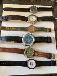 Lot Of 6 Unique Mens Project Watches - Wengler, Fossil, Wrangler For Parts Nice