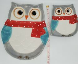 Boston Warehouse 2012 Snowy Owl Design Ceramic Dishes Set Of Two Discontinued
