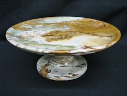 Vintage Green Marble Pedestal Cake / Cookie / Tidbit Tray Or Stand Mint