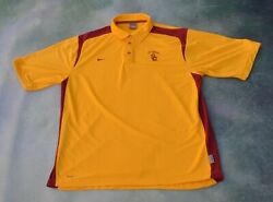 Nike Fit Dry Ncaa Usc Trojans Menand039s Polo Shirt Size L.