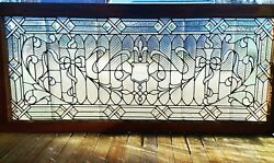 Large Victorian Jeweled And Stained Glass Window 29 X 64
