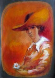 Gilberto Aceves Navarro, Mexican Master, Woman In A Hat, Oil On Paper, C.1967