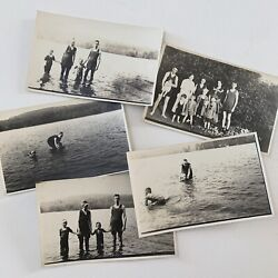 Antique Rppc Real Photograph Postcard Lot 5 Swimming Beach Lake Swimsuits