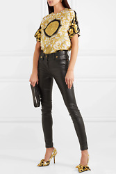 3587 Stunning Versace Leather Skinny Pants W/ankle Zippers Black Sz It 40 Nwt