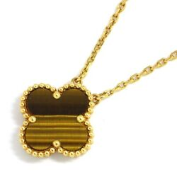 Auth And Necklace Vintage Tigerand039s Eye 750 Yellow Gold
