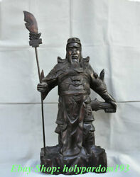 34 Chinese Wood Carving Warrior General God Guan Gong Yu Hold Sword Statue