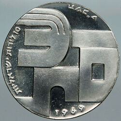 1969 Israel Moses Peace Soldier Shalom Vintage Proof Silver 10 Lirot Coin I88508