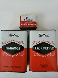 Set Of 3 Vintage Mcness Schilling Pepper Cinnamon Spice Tins Shakers