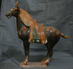 21 Chinese Old Antique Tang San Cai Porcelain Pottery Dynasty War Horse Statue