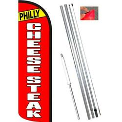 Philly Cheesesteak Red/white Windless-style Feather Flag Bundle 14' Or Replace