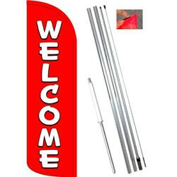 Welcome Red/white Windless-style Feather Flag Bundle 14' Or Replacement Flag O