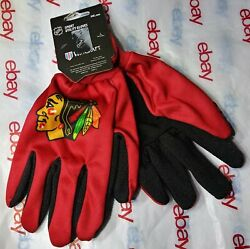 Official Nhl Chicago Blackhawks Adult Sport Utility With Gripping Dots Gloves