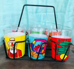 90 Ml Set Of 6 Assorted Colorful Designer Cutting Chai Glasses With Stand Holder