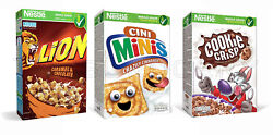 3 Qty Nestle Lion Cini Minis And Cookie Crisp Breakfast Cereals Variety Mix