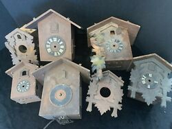 Vintage Cuckoo Clock Cases-7- One Movement Parts, Or Repair Germany