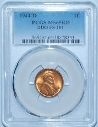1944 D Pcgs Ms65rd Red Ddo Fs-101 Double Doubled Die Obverse Lincoln Cent