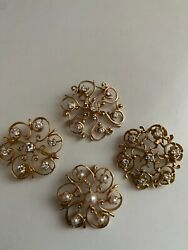 Set Of 4 Stunning Vintage 14k Gold Pearls And Diamond Swirling Pins 26gr