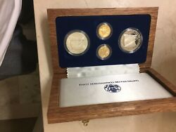 1987 Us Constitution 4-coin Commemorative Set Gold And Silver- Proof And Unc+coa