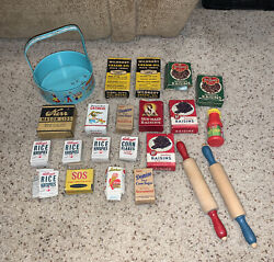 Vintage Kitchen Sample Small Scale Boxes Food Sugar Raisin Kerr Wildroot Lot Toy
