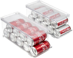 Clear Soda Can Organizer Refrigerator Stackable Bin Dispenser With Lid - 2-pack