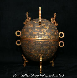 10.2 Rare Old Chinese Copper Gilt Dynasty Palace Beast Pattern Lid Censer