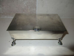 Antique Sterling Silver Footed Cigarette Box Case Jewelry Trinket Box