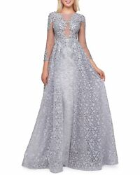 Mac Duggal Boat-neck 3/4-sleeve Illusion Gown With Lace Overlay Size 4 798