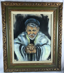 Prayerful Jewish Rabbi Mid-century 1960-1970 Original Painting By Aaron Leib