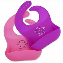 Silicone Baby Bibs Easily Wipe Clean Comfortable Soft Pink / Purple