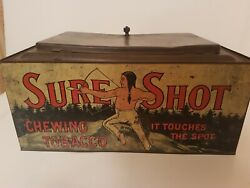 Antique Sure Shot Chewing Tobacco Tin Country Store Advertising Display