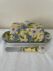 Temp-tations Ceramic Figural Floral Daisies Butter Dish W/ Butter Knife