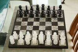 Marble Chess Board With Glass Pieces