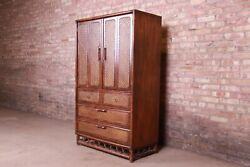 American Of Martinsville Mid-century Hollywood Regency Bamboo Rattan Gentlemanand039s
