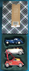 Classic Roadsters Set Of 3 Cars Christmas Ornaments Ceramic In Box