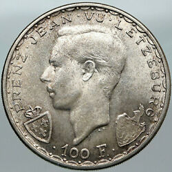 1946 Luxembourg Duchess Charlotte John The Blind Vintage Silver 100f Coin I88389