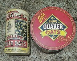 Antique Quaker Rolled White Oats Brown Box 71/2 And 1983 Quaker Oats Tin Used