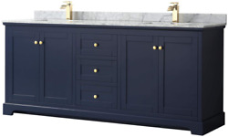 Wyndham Collection Avery 80 Inch Double Bathroom Vanity In Dark Blue, White Carr